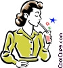 Vector Clipart picture  of a drinking
