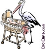 Vector Clip Art image  of a new born baby