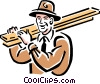 Vector Clipart picture  of a Man walking with lumber