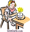 Child blowing out candles on a cake Vector Clip Art image
