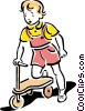 Child playing with scooter Vector Clipart picture