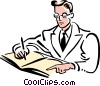 Vector Clip Art image  of a doctor filling out report