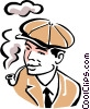 smoking a pipe Vector Clipart picture