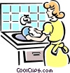 washing dishes Vector Clipart graphic