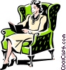 Vector Clipart illustration  of a woman reading