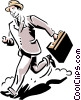 Vector Clip Art graphic  of a man running to the bus