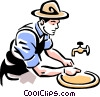 Vector Clipart image  of a man washing hands