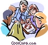 Vector Clipart graphic  of a Group leader giving directions