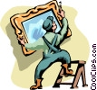 man hanging a mirror Vector Clip Art graphic