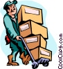 man moving boxes Vector Clipart picture