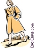 Vector Clipart image  of a Mother walking