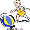 Vector Clipart picture  of a Child playing with ball