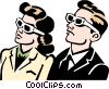 Couple watching 3D movie Vector Clip Art picture