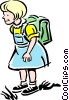 Vector Clip Art image  of a Child going to school