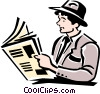 man reading paper Vector Clipart picture