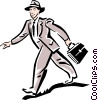 Vector Clipart picture  of a man walking to work