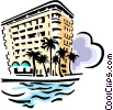 hotel on beach Vector Clip Art graphic