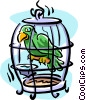 Vector Clip Art image  of a bird in a cage