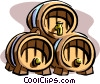 Vector Clip Art graphic  of an ale kegs