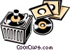 Vector Clipart graphic  of a phonograph/records