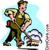 Vector Clip Art graphic  of a road sweeper