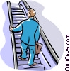 Vector Clip Art image  of a man going up escalator