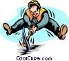 Vector Clip Art image  of a breaking ground