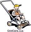 Vector Clip Art image  of a child in carriage