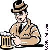 Vector Clip Art graphic  of a Man having a beer at the pub