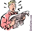 Vector Clip Art image  of a man reading newspaper