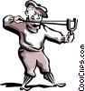 Man firing slingshot Vector Clip Art picture