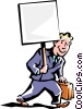 Vector Clip Art image  of a man carrying sign