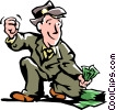Vector Clip Art picture  of a man picking up money