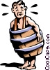 man in barrel Vector Clipart graphic