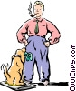 man with dog Vector Clip Art picture