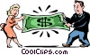 fighting over money Vector Clipart picture