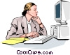 woman at work Vector Clip Art picture