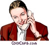 woman talking on phone Vector Clipart illustration