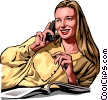 Vector Clip Art image  of a woman talking on phone