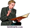 businesswoman reviewing  documents Vector Clipart picture