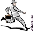Vector Clipart graphic  of a man running to work