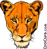 Vector Clip Art image  of a Female lion