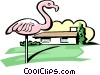house with pink flamingo Vector Clip Art picture