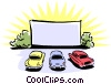 drive-in movie theatre with 50's style automobiles Vector Clipart picture
