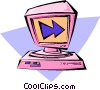computer with monitor Vector Clip Art image