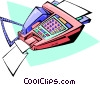 Vector Clip Art graphic  of a modern fax machine