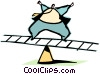 Vector Clip Art graphic  of a balancing act