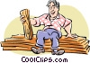 Carpenter with wood Vector Clipart illustration