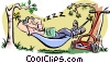 Vector Clipart picture  of a man sleeping in hammock