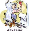 Vector Clip Art graphic  of a Man putting up wallpaper